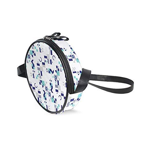 HATESAH Patrón inspirado en el art déco de los años setenta con formas geométricas,Bolso de lona hombro para mujer Bolso de mensajero de lona casual anillo de hombro único Bolso de mensajero