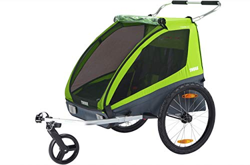 Thule Coaster XT 2-Sitzer Kinderanhänger mit Kupplung und Buggy-Set Farbe Avocado-grün 2020
