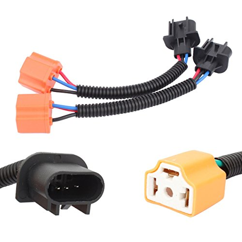 TOMALL H13 9008 Male to H4 9003 Female Ceramics Retrofit Extension Wiring Harness Socket Adapter for Jeep Wrangler JK TJ LED Headlight Conversion Kit 12cm(5inch)