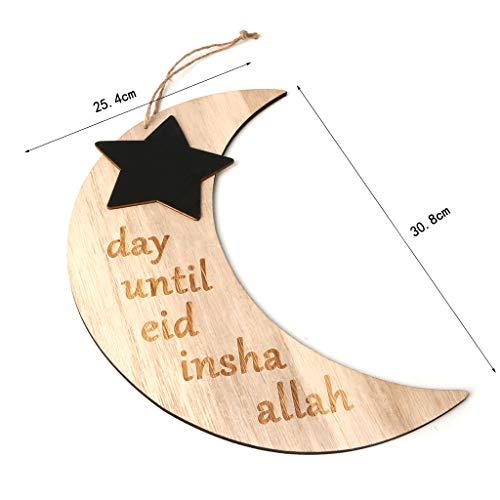 ruiruiNIE Islam Ramadan Countdown EID Mubarak Advent Hängender Mondstern Anhänger Plakettenbrett DIY Craft Home Decor