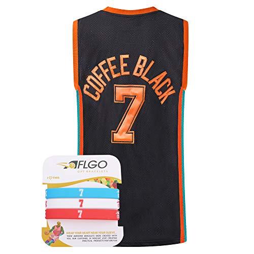AFLGO Coffee Black #7 Flint Tropics Semi-Pro Stitched Basketball Jersey (Medium, Black)
