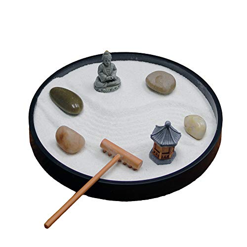 Nature's Mark Mini Meditation Zen Garden Table Décor Kit with Shaped Base (Round 6x6 B)