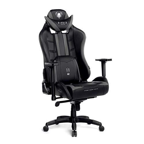Diablo X-Ray Gaming Stuhl Bürostuhl Schreibtischstuhl 4D Armlehnen Ergonomisches Design Kunstleder Perforation Wippfunktion Belastbarkeit bis 200 kg (schwarz-grau, XL)