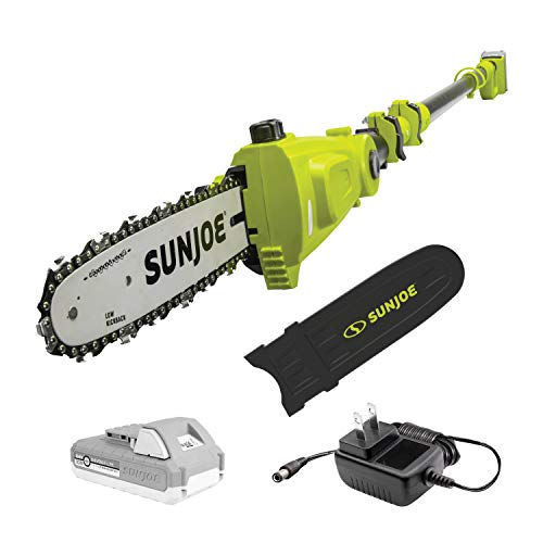 Sun Joe 24V-PS10-LTE 24-Volt iON+ 10-inch Cordless Telescoping Pole Chainsaw, Kit (w/ 2.0-Ah Battery and Charger), Green