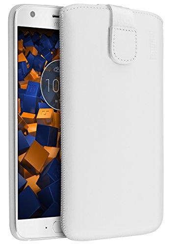 mumbi Echt Ledertasche kompatibel mit Motorola Moto X4 Hülle Leder Tasche Hülle Wallet, Weiss