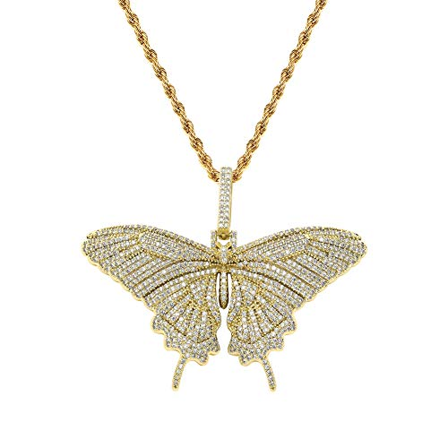TOPGRILLZ Fully Iced Out Lab Diamond 3D Butterfly Pendant Necklace for Men and Women Birthday Gifts (Gold)
