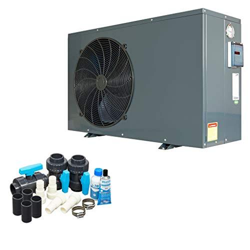 well2wellness ON/Off Pool Wärmepumpe Mida.Quick 4 - Poolheizung mit Einer Heizkapazität bis 3,5 kW Plus Bypass Set Basic + Abdeckung