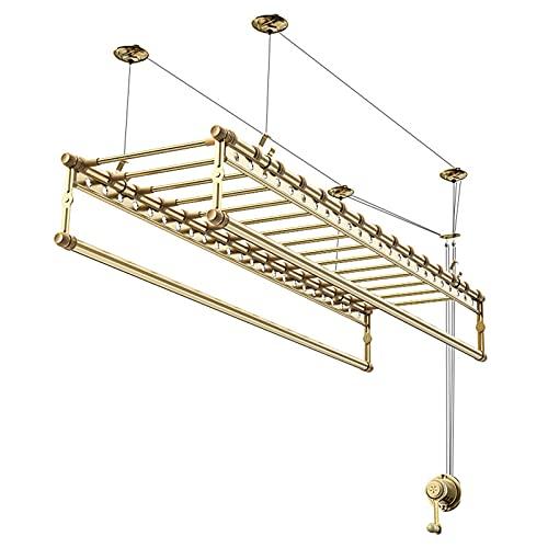 Doble-Mano del Poste-elevación Operada Tendedero,Aluminio De Servicio Pesado Perchas para Abrigos,Colgado Ajustable Perchero para Balcón Baño Al Aire Libre-Dorado 150cm(59inch)