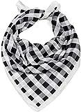 styleBREAKER pañuelo de mujer cuadrado con motivo a cuadros, estilo rockabilly, pañuelo multifuncional, pañuelo para el cuello, pañuelo para la cabeza, bandana 01016172, color:Blanco-negro