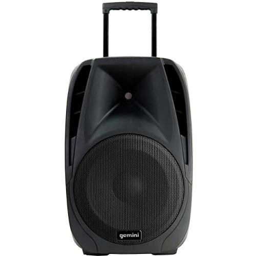 Gemini ES-12TOGO - Altavoz de batería con ruedas, micrófonos inalámbricos, USB, Bluetooth, tarjeta SD, 600 W máximo, 12 pulgadas