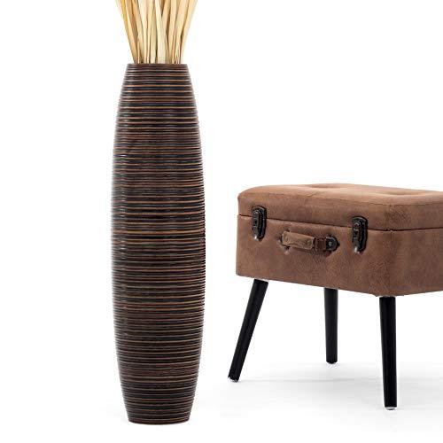 Leewadee Grande Vaso da Terra per Rami Decorativi Vaso Alto da Interno 75 cm, Legno di Mango, Marrone