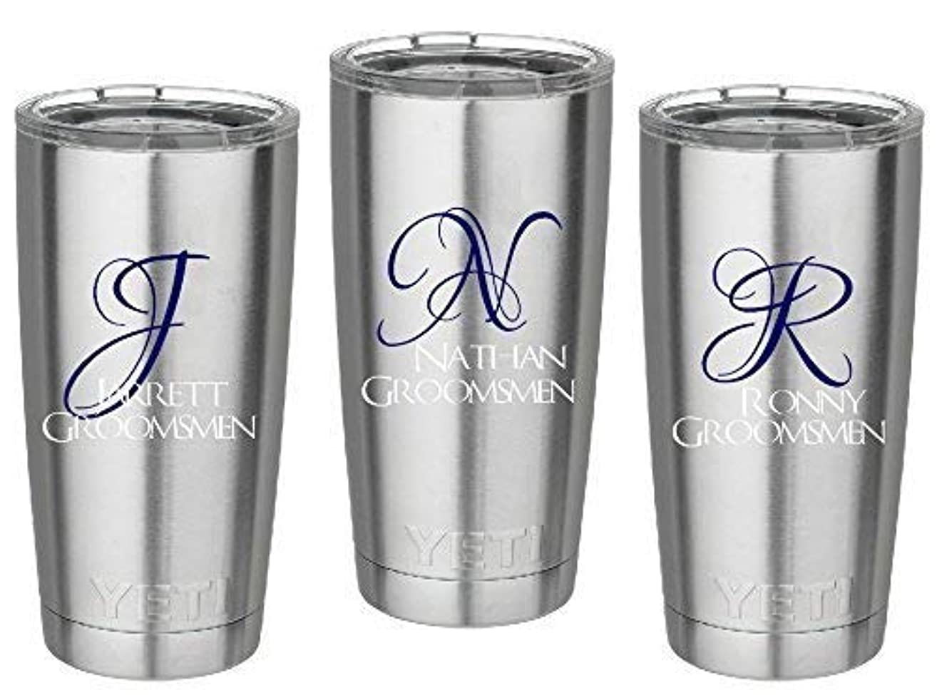 Set of 3 Groomsmen Decals. Groomsmen's name and first initial. Customize the color, name, and size. Perfect for windows, wine glasses, flasks, Yeti cups, groomsmen's gift, water bottle, etc.