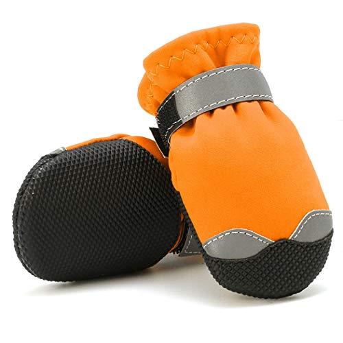 LIPETLI Tissu de Nylon Réfléchissant Chaussures pour Animaux Bottes de Chien de Protection Coupe Vent Imperméable au Molleton Superfine Convenant aux Chiens,Orange,7