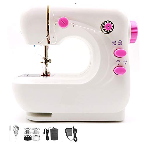 Mini Electric Sewing Machine, Portable Household Lightweight for Beginner, Sewing Made Easy with Double Thread and Free Arm, Adjustable Speed with Foot Pedal