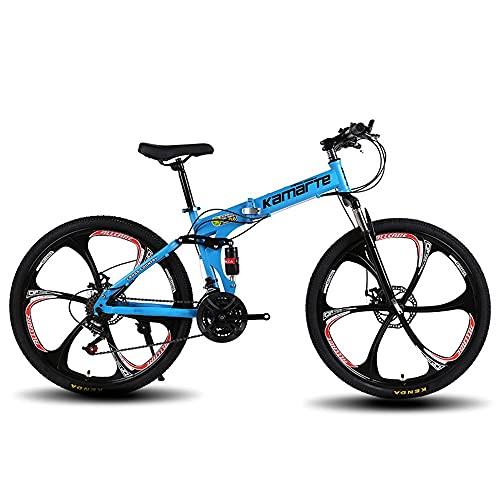 XUDAN Bicicletta Mountain Bike,24/26 Pollici Portatile Pieghevole Escursionismo Cross Country 21/24/27 velocità Cambio Sensibilefacile Montare Freni Doppio Disco Ammortizzatore Completo
