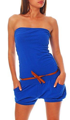 Malito Damen Einteiler kurz in Unifarben | Overall mit Gürtel | schicker Jumpsuit | Romper - Playsuit - Hosenanzug 8964 (blau)