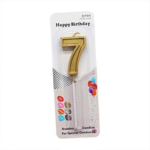 Velas con números de mesas parlantes con Purpurina, número Dorado, 0-9, Vela para Fiesta de cumpleaños, Pastel, Bricolaje para el hogar, para el día de Pascua (H)