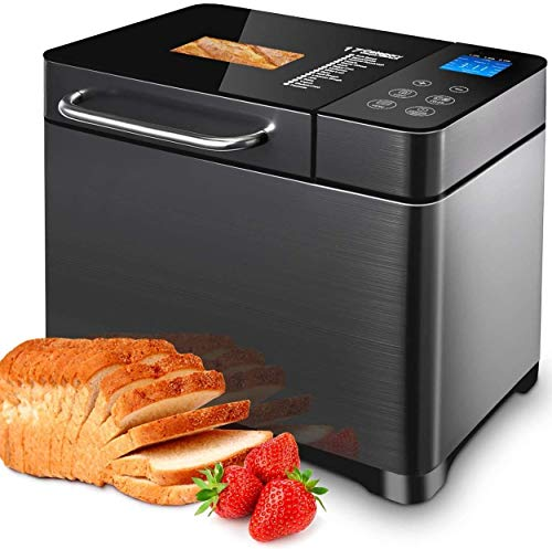 Bread Machine with Double Tubes, 2LB XL Bread Maker with Fruit Nut Dispenser, Ceramic Pan& Digital Touch Panel, 3 Loaf Sizes 3 Crust Colors, Reserve& Keep Warm Set,Stainless Steel/Black