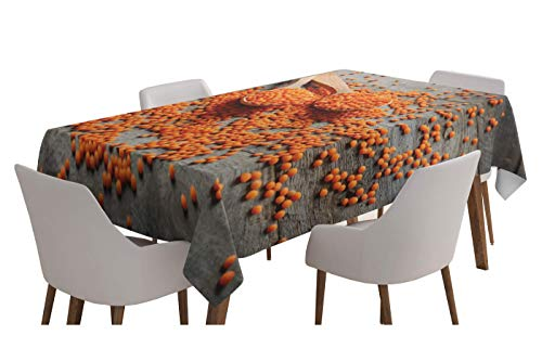 Yeuss Natural Color Tablecloth Table Covers,Photo of Lentils on Spoons and Grunge Wooden Planks Table,Taupe Dark Orange Pastel Brown