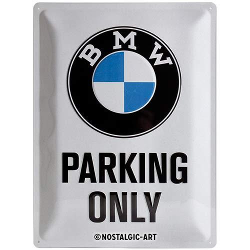 Nostalgic-Art BMW – Parking Only White – Geschenk-Idee für Auto Zubehör Fans Retro Blechschild, aus Metall, Vintage-Design zur Dekoration, 30 x 40 cm