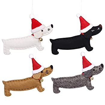 VOSAREA Christmas Tree Hanging Pendant Dachshund Dog Ornaments Xmas Hanging Ornaments Party Supplies 4Pcs