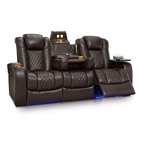 Seatcraft Anthem Home Theater Seating - Top Grain Leather - Power Recline Sofa - Fold-Down Table - Powered Headrests - Arm Storage - AC/USB and Wireless Charging - Cup Holders, Brown