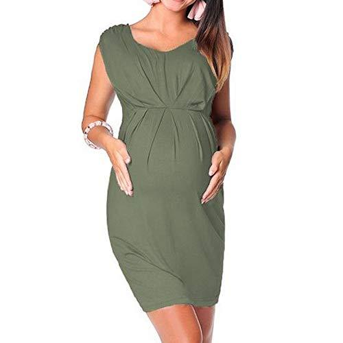 Vestido Lactancia Mujer Ropa De Maternidad De Verano Vestido Ajustado Sin Mangas Para Mujeres Embarazadas Vestido Sólido Sexy Vestido De Embarazo Vestidos De Maternidad Casuales, Verde Militar, L