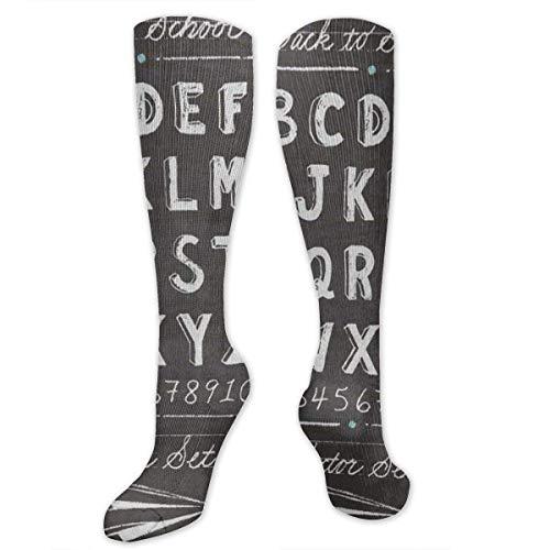 NA Calcetines elásticos Vintage Back to School Alphabet ABC Designer Winter Warmth...