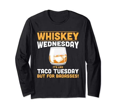 Alcohol Whisky Miércoles Funny Tees Alcohólico Adulto Manga Larga