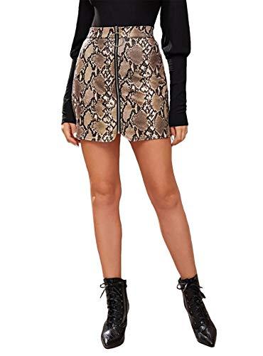 CiKiXZ Minirock Damen Schlangenmuster Vorne Reißverschluss Bodycon Mini Rock Figurbetont Bleistiftrock Hohe Taille Skirt Noos Rock (Schlangenmuster, XL)