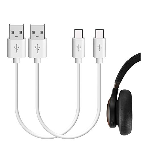 Geekria Charging Cord Compatible with JBLs T450BT, Tune 700BT, Tune 750BTNC, Reflect, Reflect Flow/USB-A to Micro-USB Charger Cable for JBLs Headphones, Earbuds, Sport Earphones (White 2Pack 1FT)