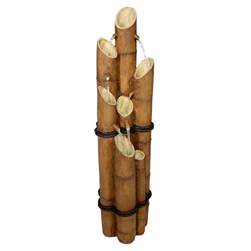 Asian Decor Water Fountain - Nearly 4 Foot Tall Cascading Bamboo Fountain - Outdoor Water Feature