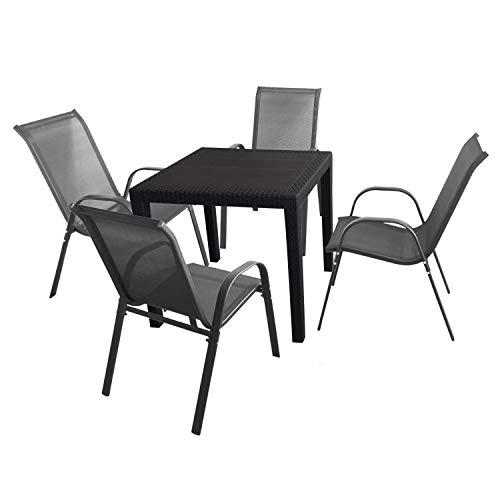 5tlg. Sitzgruppe Gartentisch 79x79cm Schwarz + 4 stapelbare Stühle mit Textilenbespannung Anthrazit Terrasse Balkon Garten Garnitur Kunststoff Metall