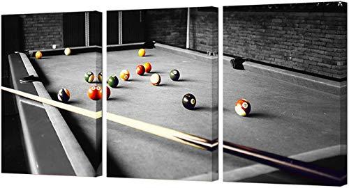 DOLUDO Pool Room Wall Decor Billard Bilder schwarz und weiß Leinwand Wandkunst Malerei Boys Room Club Decor Sport unter dem Motto Artwork Home Decoration 30x50cmx3 (mit Rahmen)