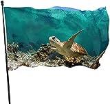 Deko-Fahne für den Garten, Motiv: Schildkröte auf der Suche nach Lebensmitteln in der Koralle, für den Garten, Garten, Dekoration, 91 x 152 cm