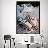 Pintura sin Marco Elegante pequeña Bailarina de Belleza póster Chica de Estilo nórdico Zapato Arte de la Pared pinturaZGQ3689 40X60cm