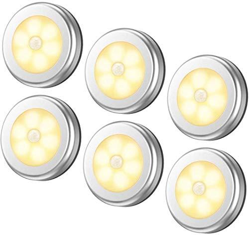 Mazu Homee LED-Lichter mit Bewegungsmelder, kabellos, batteriebetrieben, für Flur, Badezimmer, Schlafzimmer, Küche, Schrank, Treppe, Puck, Warmweiß, 6 Stück