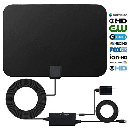 HDTV Antenna Indoor Digital 60-80 Miles Long Range TV Antenna with 2018 Newest Amplifier Signal Booster, Support 1080p 4K and All Older TVs High Performance 16.5 Feets Coaxial Cable Power Adapter