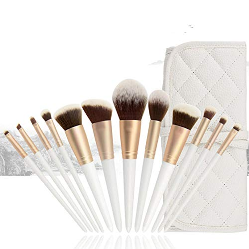 Jeu de pinceaux de maquillage, 12 trucs blanc brillant professionnel blush foundation ombre à paupières pinceau de maquillage, blanc