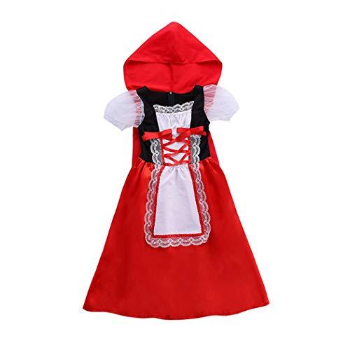Jeff-chy Carnaval Nacht Kinderen Kleine Rode Rijden Hood Cospaly Kostuums Halloween Kleine Rode Rijkap Cosplay Stage Prestatie Kant Jurk met Mantel Handschoenen