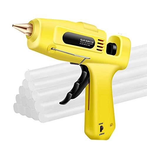 Pistolas de Encolar 60w/100w Dual Potencia con 15pcs 20cm Barras de Pegamento Termofusible Kit profesional para Pistola Caliente Profesional para Manualidades DIY Arte Reparaciones Decoracin Caseras