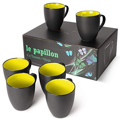 MiaMio - 6 x 350 ml Kaffeetassen/Kaffeebecher Set Außen Schwarz Innen Farbig (Gelb)