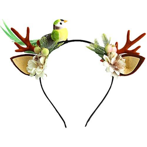 Unicra Diadema de Navidad con cuernos de flores y cuernos de alce y ciervo de animales, accesorio para el pelo para mujeres y nias