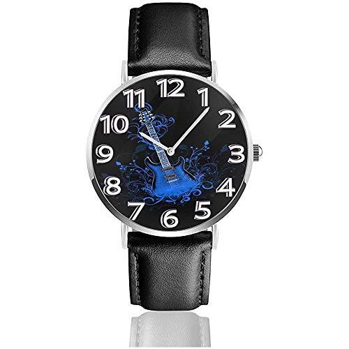 Relojes de Fondo de Guitarra eléctrica Azul Reloj de Pulsera de Cuero...