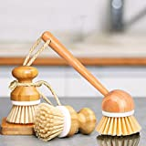 EAMBRITE Scrub Brushes Bamboo Dish Brush Wooden Cleaning Scrubbers Set for Pots Pans Kitchen Sink Vegetables Washing, Set of 3