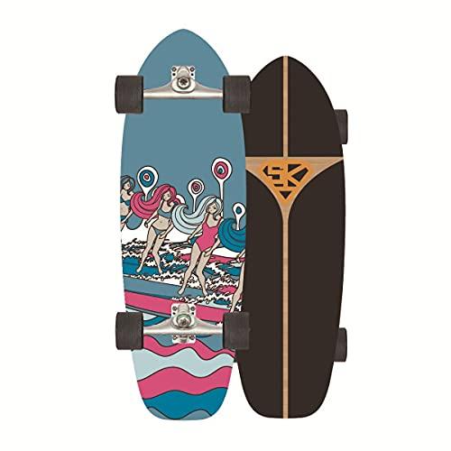 ZBYL Skateboards Carver Surfskate 75 * 24CM Cruiser Monopatin para Adultos 8 Capas de Madera de Arce Surfskate con Rodamientos ABEC-7 para Adolescentes y niños
