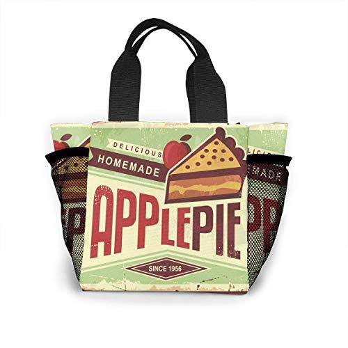not applicable Köstliche hausgemachte Apfelkuchen Retro Werbeartikel Adv wiederverwendbare Einkaufstasche Ripstop Polyester Einkaufstasche oder Lunchpaket