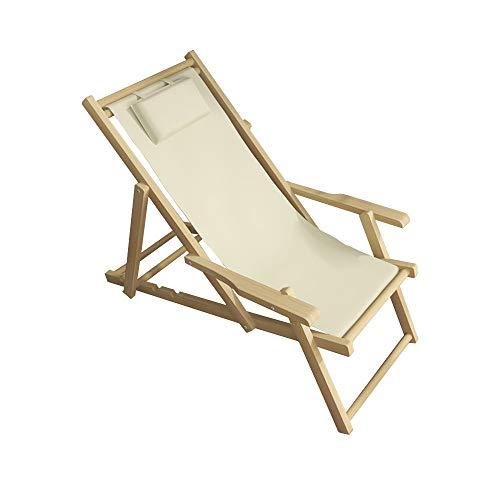 MH-RING Silla Camping Plegable Reclinable,Sillas de Jardin de Madera Tela de Lona con Marco de Madera Maciza Ajustable para Terraza Exteriores Playa Picnic (Color : Beige)