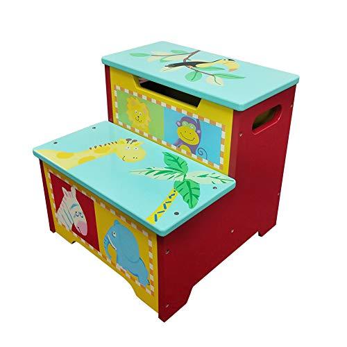 WODNEY Tritthocker aus Holz für Kinder | Kindertritthocker mit Aufbewahrung | Tragbare & leichte Double Step Hocker für Kleinkinder Kinder Kinder Jungen Mädchen (Rot)