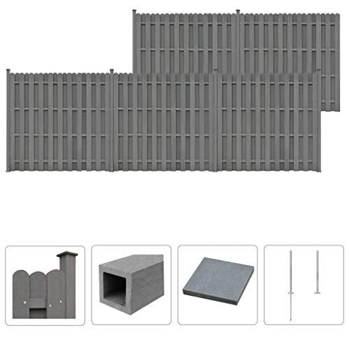 Festnight WPC Zaun-Set | Zaunpaneel-Set | Gartenzaun | Sichtschutzzaun | Dichtzaun | Zaunelemente | Windschutz Zaun | Grau 5 Quadratelemente 932 x 185 cm